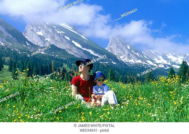 Alps. Spring. View from Alp Sellamatt. Churfirsten, Toggenburg, St.Gallen. Switzerland