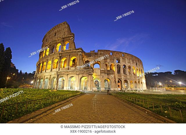 Colosseum at dusk, Rome, Italy