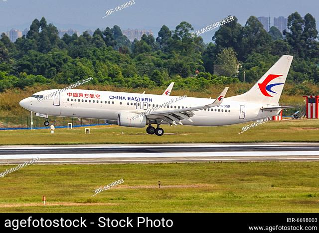 A China Eastern Airlines Boeing 737-800 aircraft with registration number B-205R at Chengdu Airport (CTU), Chengdu, China, Asia