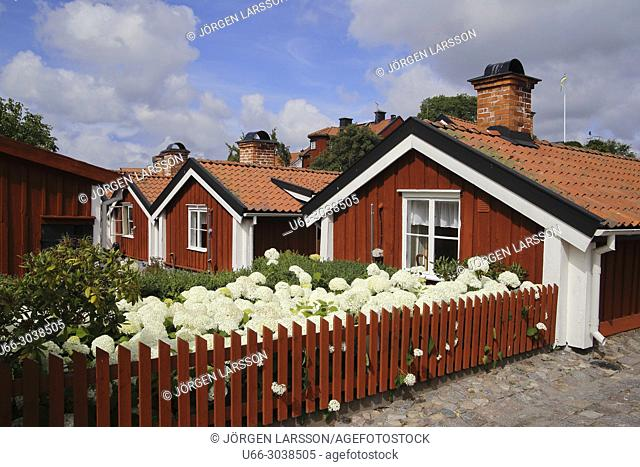 Old houses in Vastervik, Smaland, Sweden
