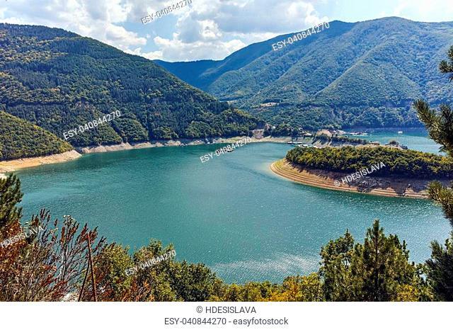 Green hills around Vacha dam, Rhodope Mountains, Plovdiv Region, Bulgaria