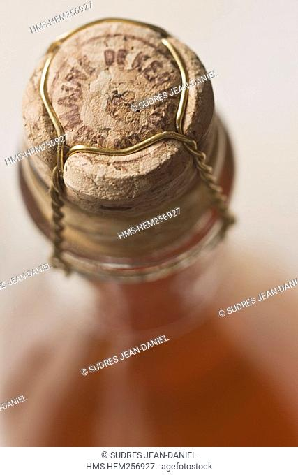 France, Finistere, Guimaec, cider from Kerveguen domain, owner Eric Baron, close up on the cork of a bottle