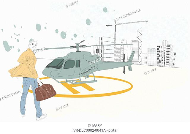 Illustration of man with helicopter