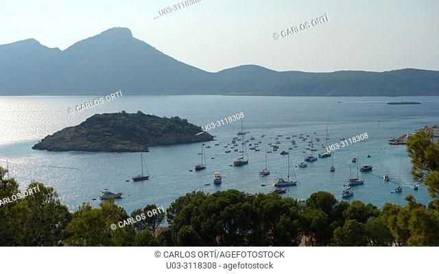 General view of a small bay in the little town of Sant Elm, within the majorcan municipality of Andratx and the island of Dragonera, Spain, Balearic islands
