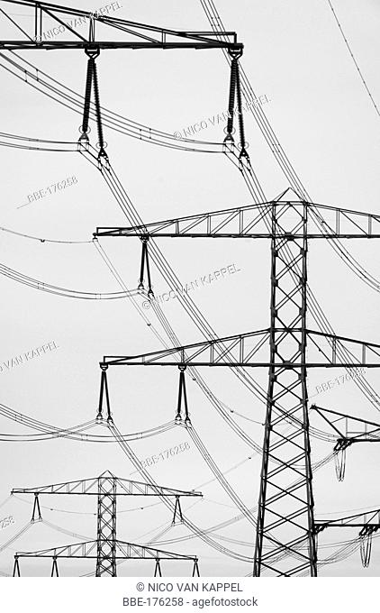powerlines in the port of Rotterdam
