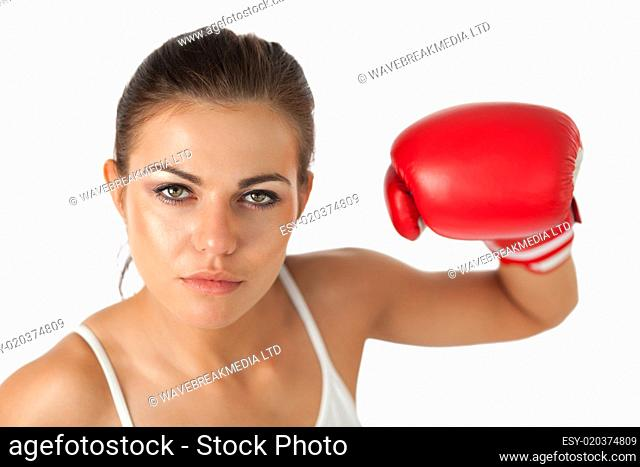 Female boxer looking at the camera