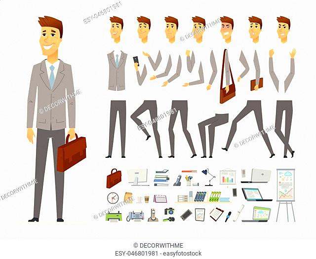 Businessman - vector cartoon people character constructor isolated on white background. Set of different face expressions, poses, gestures for animation