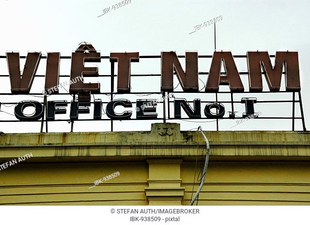Writing on a building from the French colonial era, Hanoi, Vietnam, Southeast Asia