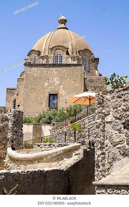 view of aragon castle in ischia, italy