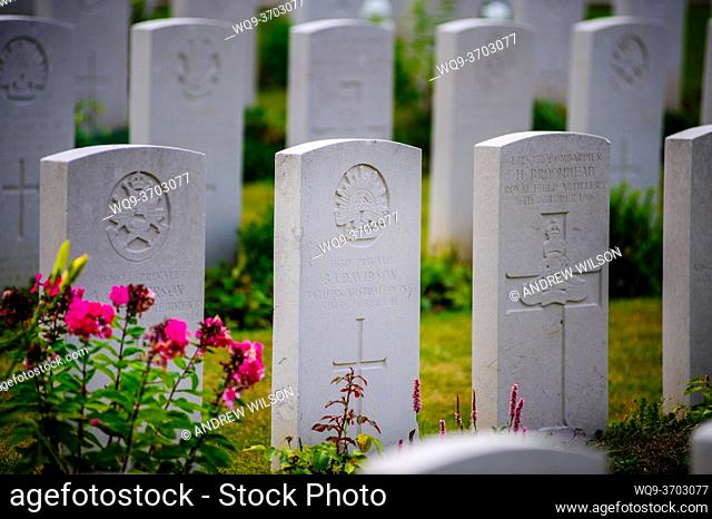 War Graves in the Military Cemetary, Tourgeville, Normandy, France