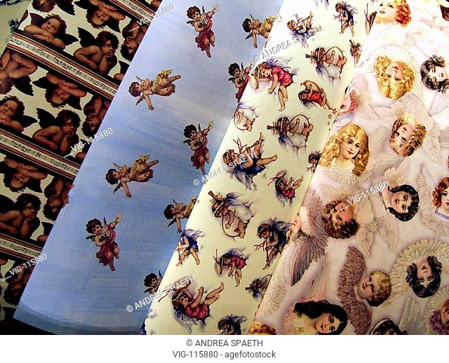 Wrapping paper with angels at christmas time.  - MUENCHEN, BAYERN, GERMANY, 15/12/2004