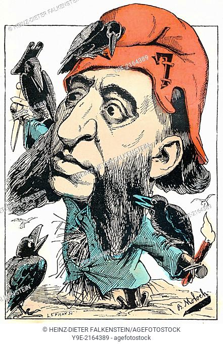 Jules François Camille Ferry, 1832-1893, a French statesman and republican, Political caricature, 1882, by Alphonse Hector Colomb pseudonym B