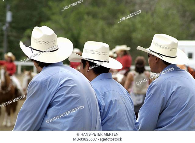 Canada, Alberta, Calgary, Stampede park, cowboys, view from behind, detail