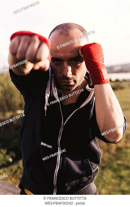 Portrait of boxer outdoors