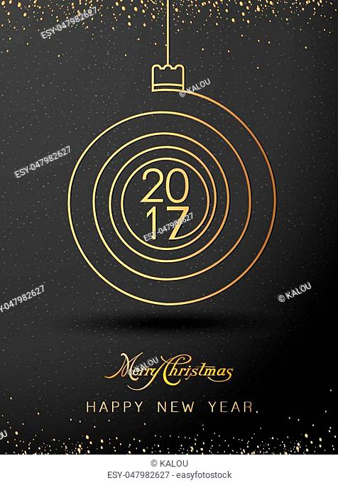 Merry christmas happy new year gold 2017 spiral shape. Ideal for xmas card or elegant holiday party invitation. EPS10 vector