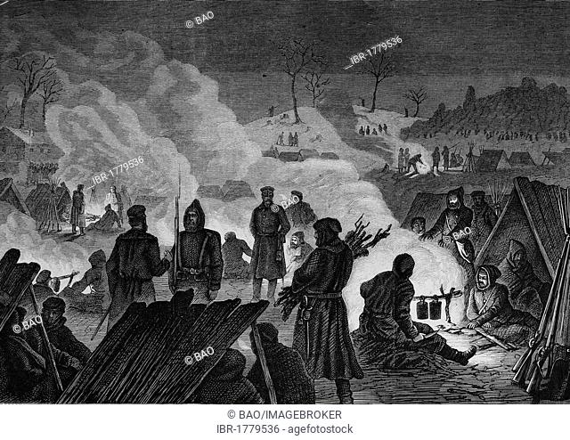 Bivouac in front of Le Mans in the night of 11 January 1871, Illustrierte Kriegschronik 1870 - 1871, Illustrated War Chronicle 1870 - 1871