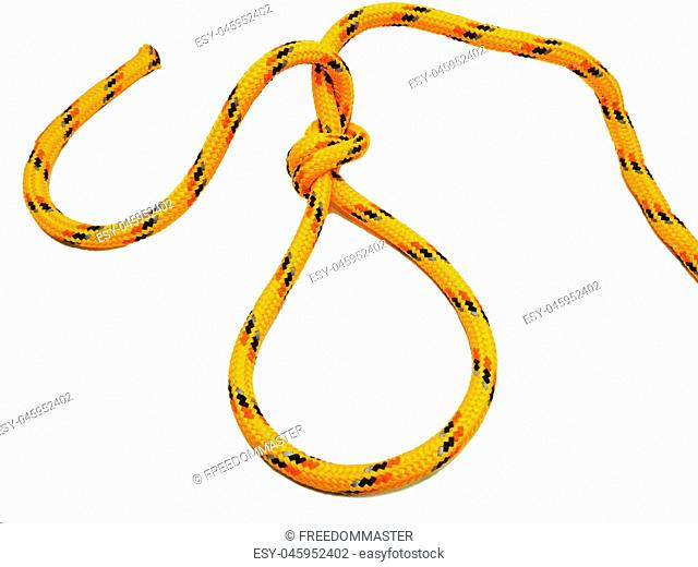 Yellow rope with some nodes. Isolated on white background
