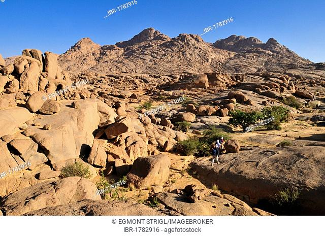 Group of tourists hiking through granite landscape, Hoggar, Ahaggar Mountains, Wilaya Tamanrasset, Algeria, Sahara, North Africa