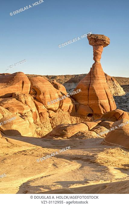 Evening light on sandstone toadstoal hoodoo, Paria Rimrocks Toadstool Hoodoos, Utah, USA