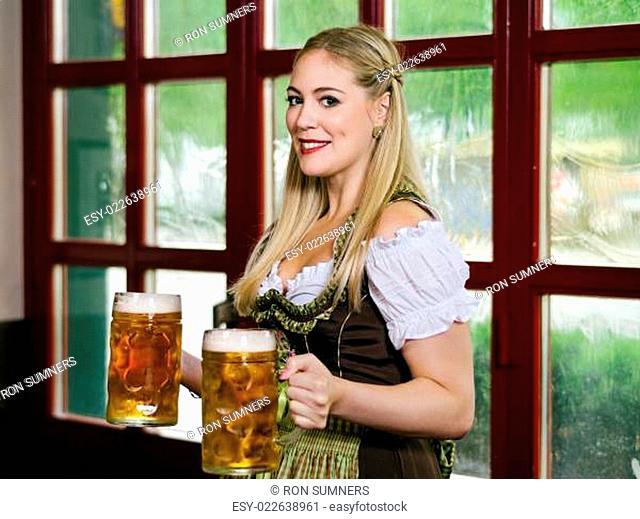 Serving beer during Oktoberfest