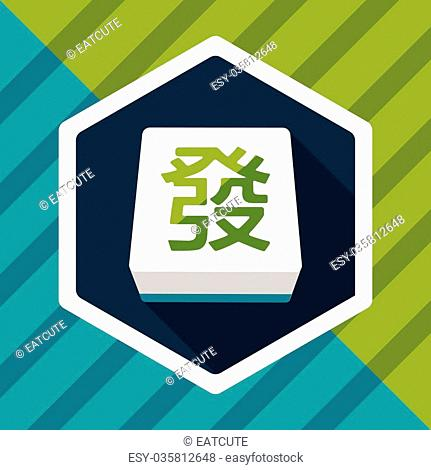 Chinese mahjong flat icon with long shadow, eps10