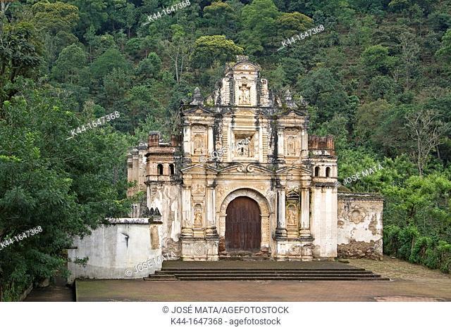 Facade of a church in ruins: La Ermita de La Santa Cruz, Antigua, Guatemala