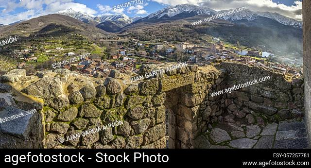 Viewpoint of Santa Maria Church, Ambroz Valley village. Caceres, Extremadura, Spain