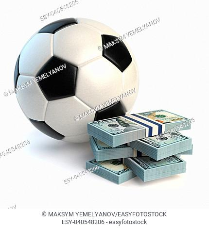 Soccer or football ball and packs of dollars isolated on white. Sport bets concept. 3d illustration