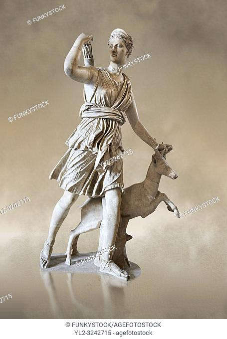 "Artemis and a deer, known as """"Diana of Versaillesâ. . , a 1st - 2nd century Roman statue in marble probably from Italy. Artemis, Diana to the Romans"