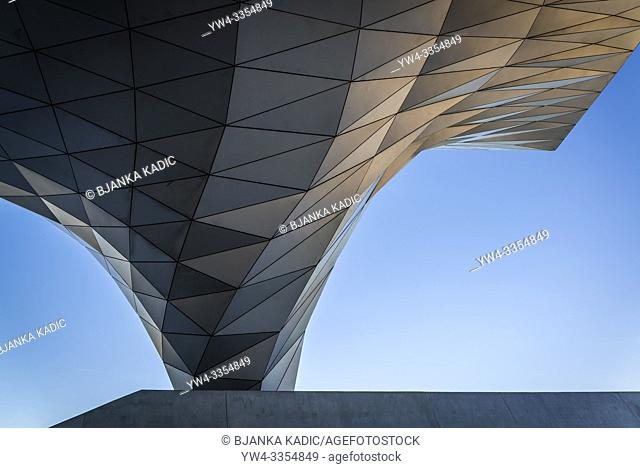 Elegant shapes of the Confluence Museum, a science centre and anthropology museum which opened in 2014, Lyon, France