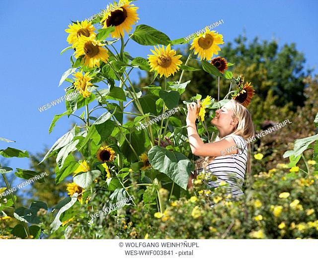 Young woman standing in a garden with sunflowers
