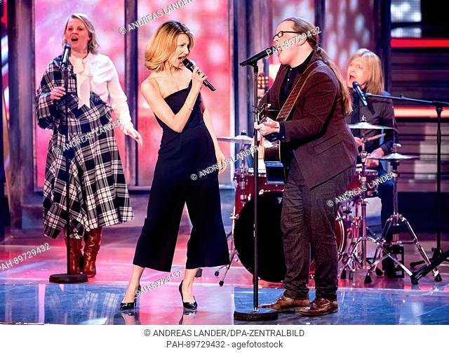 The Kelly Family and singer Ella Endlich (2.f.l.) during the recording of the TV show 'Willkommen bei Carmen Nebel' (lt. 'Welcome to Carmen Nebel's') in the...