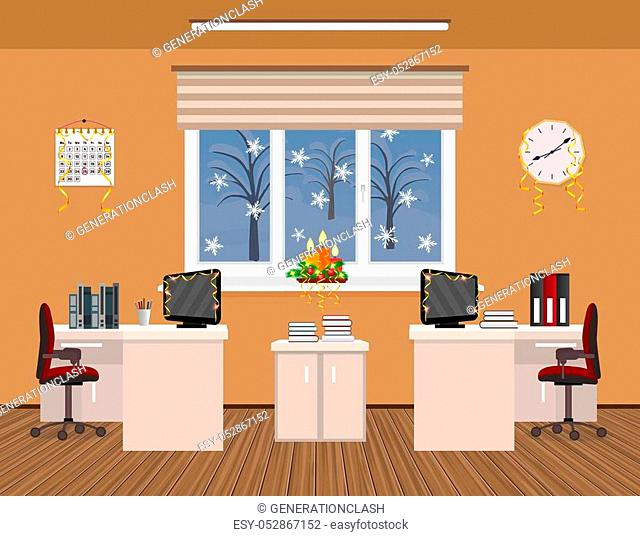 Office room interior christmas holiday decor design with serpentine including two work spaces with winter landscape outside window