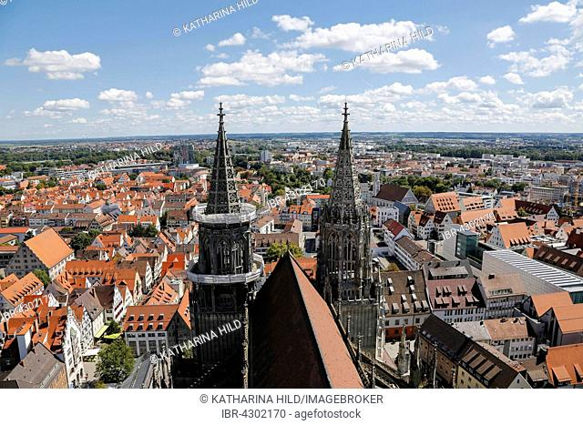 Ulm Cathedral, view from the west tower to the nave and the towers, Ulm, Baden-Württemberg, Germany