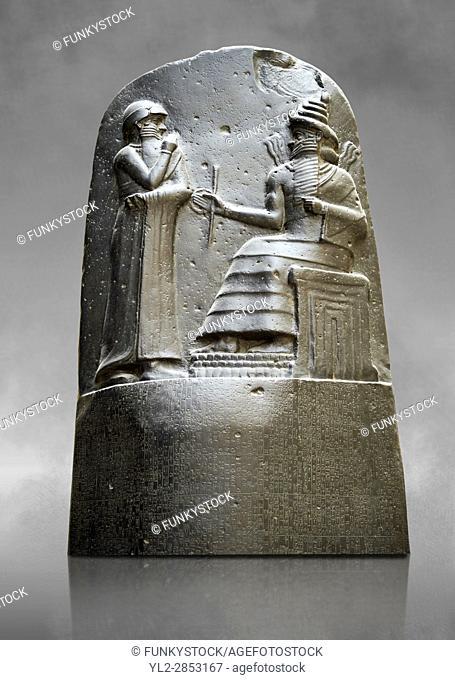 Babylonian Hammurabi stone relief sculpture. Hammurabi was the sixth Amorite king of Babylon from 1792 BC to 1750 BC . Hammurabi (standing)