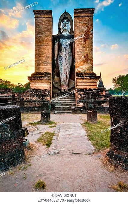 Budha temple in Wat Mahathat, historical park which covers the ruins of the old city of Sukhothai, Thailand