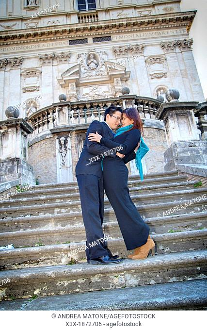 Couple in love in Rome Italy