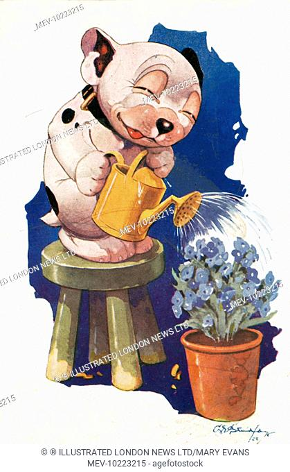 Colour illustration by George Ernest Studdy (1878-1948) showing Bonzo the dog watering a plant pot of forget-me-nots