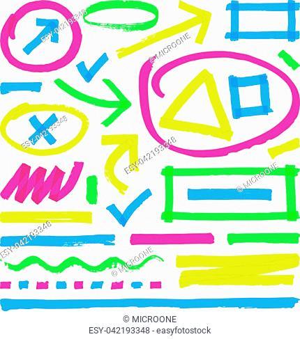 Highlighter vector marks. Color marker stripes, strokes and arrows. Arrow mark colored line, marker stroke scribble for highlighter illustration