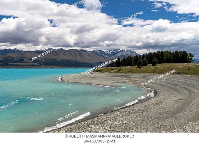 Bay on the shore of Lake Pukaki, Pukaki, Canterbury Region, Southland, New Zealand