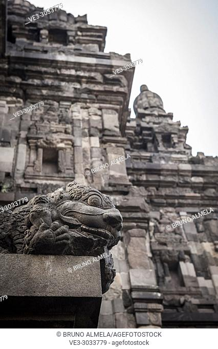 Stone sculpture in Prambanan Hindu Temple Coumpounds (UNESCO World Heritage Site), Special Region of Yogyakarta, Central Java, Indonesia