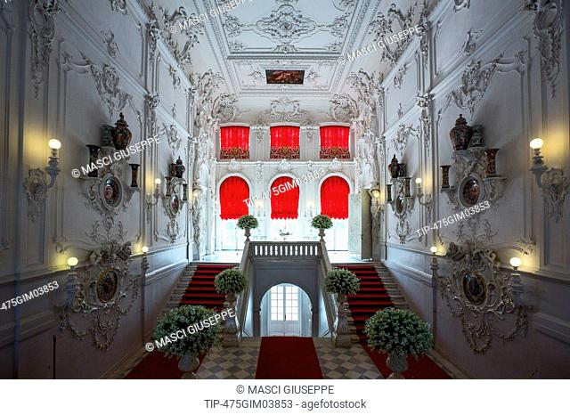 Russia, St.Petersburg, Pushkin, Tsarkoje Selo, the entrance staircase of the Catherine Palace