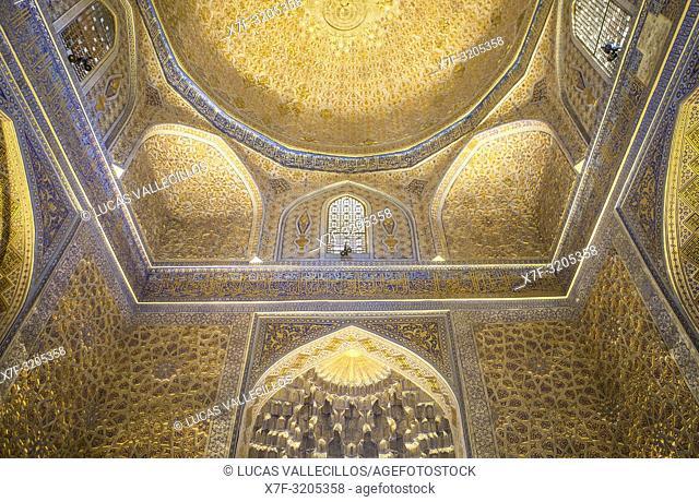 Ceiling of Gur-e-Amir mausoleum, Samarkand, Uzbekistan