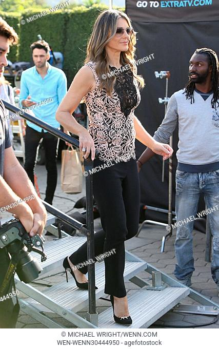 Elizabeth Hurley William Moseley and Alexandra Park seen at Universal studios where they were interviewed by Mario Lopez for television show Extra