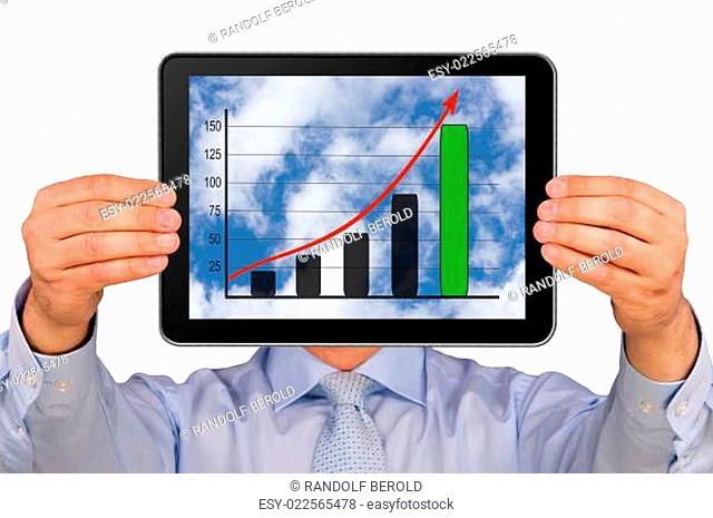 Mann mit Tablet PC und Diagramm