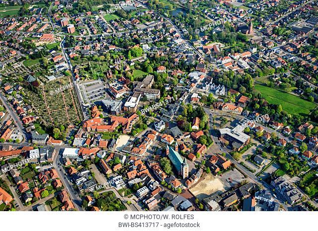 city centre of Lohne in Landkreis Vechta, aerial view, Germany, Lower Saxony, Oldenburger Muensterland, Lohne
