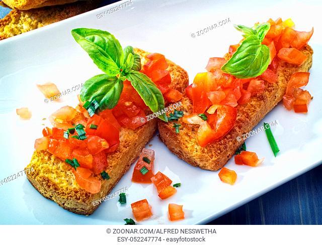 Bruschetta Vorspeise auf einem Teller