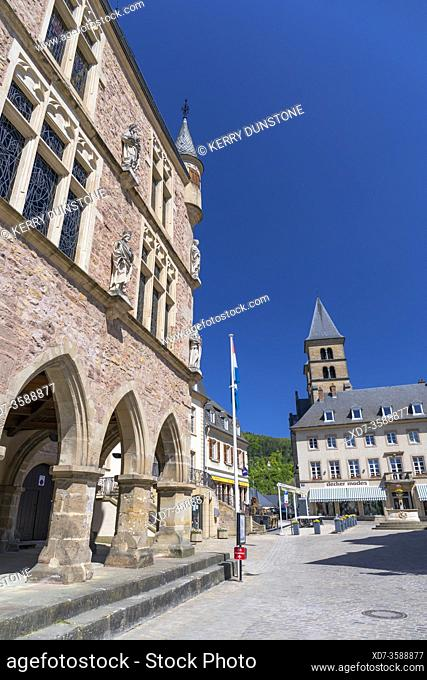 Europe, Luxembourg, Echternach, Denzelt (Historic Courthouse) on the corner of Place du Marche