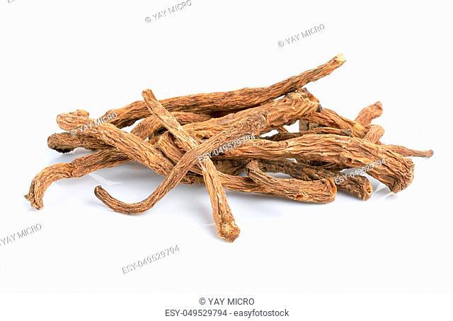 angelica sinensis herb on white background