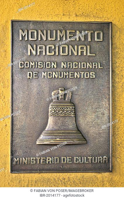 Monumento Nacional plaque on facade of the Moncada Barracks, now school centre and historical museum; the fight of revolutionaries around Fidel Castro against...
